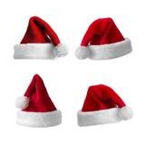 Coleção dos chapéus de Santa fotografia de stock