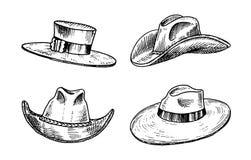 Coleção dos chapéus do vintage do verão para homens elegantes Capitão Cowboy da boina de Fedora Derby Deerstalker Homburg Bowler  ilustração royalty free