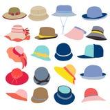 Coleção dos chapéus para homens e mulheres ilustração royalty free