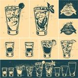 Coleção dos cocktail do vintage ilustração stock
