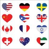 Coleção dos corações da bandeira Foto de Stock