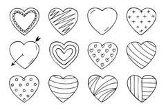 Coleção dos corações no estilo da garatuja Dia feliz dos Valentim Fotografia de Stock Royalty Free