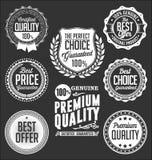 Coleção dos crachás brancos em um fundo preto, qualidade superior Fotografia de Stock Royalty Free