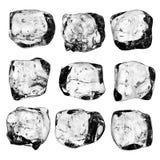 Coleção dos cubos de gelo Fotografia de Stock Royalty Free