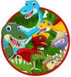 Coleção dos desenhos animados do dinossauro no quadro Fotos de Stock Royalty Free