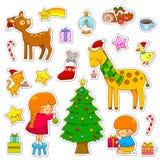 Coleção dos desenhos animados do Natal Fotografia de Stock Royalty Free