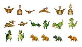 Coleção dos dinossauros - T-Rex, pterodátilo, Triceratops Fotografia de Stock