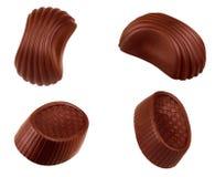 Coleção dos doces de chocolate Isolado belga bonito das trufas imagens de stock