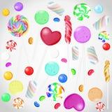 Coleção dos doces no fundo isolado branco Grupo do vetor de candys ilustração do vetor