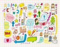 Coleção dos doodles Foto de Stock Royalty Free