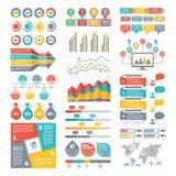 Coleção dos elementos de Infographic - ilustração do vetor do negócio no estilo liso do projeto Fotos de Stock