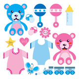 Coleção dos elementos do bebê Fotografia de Stock Royalty Free