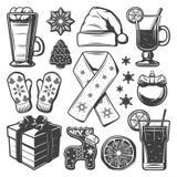 Coleção dos elementos do Natal do vintage ilustração royalty free