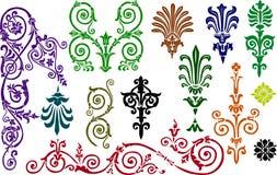 Coleção dos elementos do ornamento da cor Fotografia de Stock Royalty Free