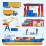 Coleção dos elementos do porto marítimo ilustração royalty free