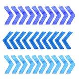 Coleção dos elementos do projeto da aquarela isolados no fundo branco Listras azuis ajustadas Fotografia de Stock Royalty Free