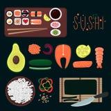 Coleção dos elementos do sushi ilustração do vetor