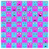 Coleção dos emoticons no quadrado e no círculo ilustração do vetor