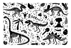 Coleção dos esqueletos e dos fósseis do dinossauro, um grupo de plantas, animais e elementos da paleontologia Vetor ilustração do vetor
