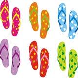 Coleção dos flip-flops Ilustração do vetor ilustração stock