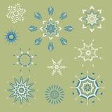 Coleção dos flocos de neve, flocos de neve naturais do Natal, estrelas do Natal, para o projeto Fotos de Stock Royalty Free