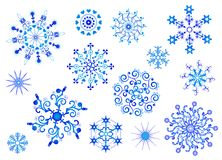 Coleção dos flocos de neve. Objeto isolado vetor.   Fotografia de Stock