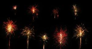 Coleção dos fogos-de-artifício isolados no fundo Fotografia de Stock Royalty Free