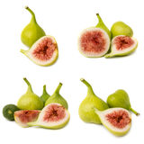 Coleção dos frutos frescos do figo isolados no fundo branco Fotografia de Stock Royalty Free