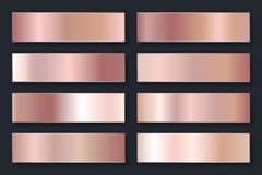 Coleção dos fundos com um inclinação metálico Placas brilhantes com efeito cor-de-rosa do ouro Ilustração do vetor ilustração royalty free