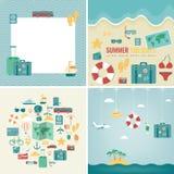 Coleção dos fundos das férias de verão Feriados e conceito das férias Ícones do curso Vetor ilustração do vetor