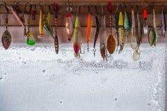 Coleção dos ganchos de pesca Imagens de Stock
