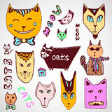 Coleção dos gatos da garatuja Página colorindo tirada mão Luz do vetor art Foto de Stock Royalty Free
