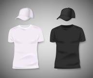 Coleção dos homens parte anterior preto e branco do t-shirt e do boné de beisebol Projeto vazio para a identidade corporativa Vet fotografia de stock royalty free