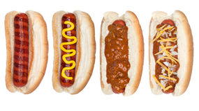 Coleção dos hotdogs Imagens de Stock