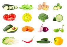 Coleção dos legumes frescos isolados no fundo branco Colagem dos vegetais suculentos e maduros isolados no branco Foto de Stock