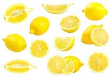 Coleção dos limões amarelos frescos isolados no branco Fotografia de Stock Royalty Free