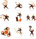 Coleção dos logotipos abstratos dos povos - 8 Foto de Stock Royalty Free