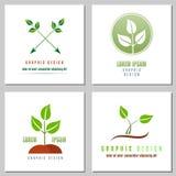 Coleção dos logotipos da folha verde Foto de Stock Royalty Free