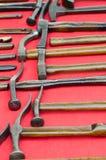Coleção dos martelos do sapateiro antigo idoso Imagem de Stock Royalty Free