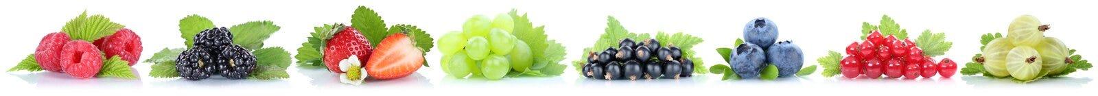 Coleção dos mirtilos das morangos das uvas dos frutos de bagas vermelhos Fotografia de Stock Royalty Free