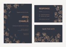A coleção dos moldes do cartão do convite e da resposta do casamento decorados por ramos de árvore da magnólia com florescência f ilustração stock