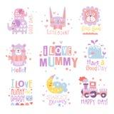 Coleção dos moldes do projeto da cópia da sala do berçário do bebê na maneira feminino bonito com mensagens de texto ilustração royalty free