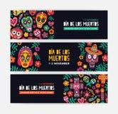Coleção dos moldes horizontais da bandeira da Web decorados com calaveras ou crânios mexicanos, flores e velas festive ilustração stock