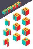 Coleção dos números isométricos Imagens de Stock Royalty Free