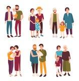 Coleção dos pares bonitos do gay e lesbiana que estão junto com suas crianças Famílias homossexuais felizes com crianças ilustração do vetor