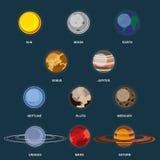 Coleção dos planetas no fundo escuro O espaço com elementos a galáxia Ajuste o sistema solar planeta dos ícones 3d ilustração stock