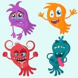 Coleção dos polvo ou dos fantasmas dos desenhos animados Ajuste para Dia das Bruxas Grupo do vetor de estrangeiros isolados Fanta ilustração stock