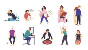 Coleção dos povos com vários apegos Pacote dos personagens de banda desenhada masculinos e fêmeas com aditivo diferente ilustração royalty free