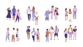 Coleção dos povos que falam ou que vibram entre si Pacote de grupos de homens e de mulheres que têm a conversação ou ilustração royalty free