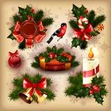 Coleção dos projetos no tema do Natal ilustração royalty free